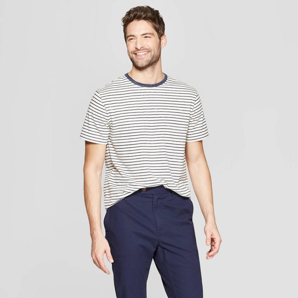 Best Price Men Striped Standard Fit Short Sleeve Novelty T Shirt Goodfellow Co White L