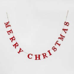 "84"" x 3.7"" Merry Christmas Tin Garland Red - Threshold™"