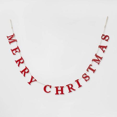 "84"" x 3.7"" Merry Christmas Tin Garland Red - Threshold™ - image 1 of 1"