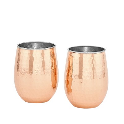 Old Dutch 17oz 2pk Stainless Steel Stemless Wine Glasses Copper