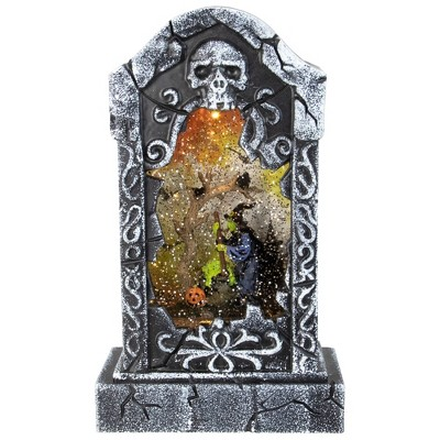 """Kurt S. Adler 10.5"""" Battery Operated Witch Scene Halloween LED Water Grave"""