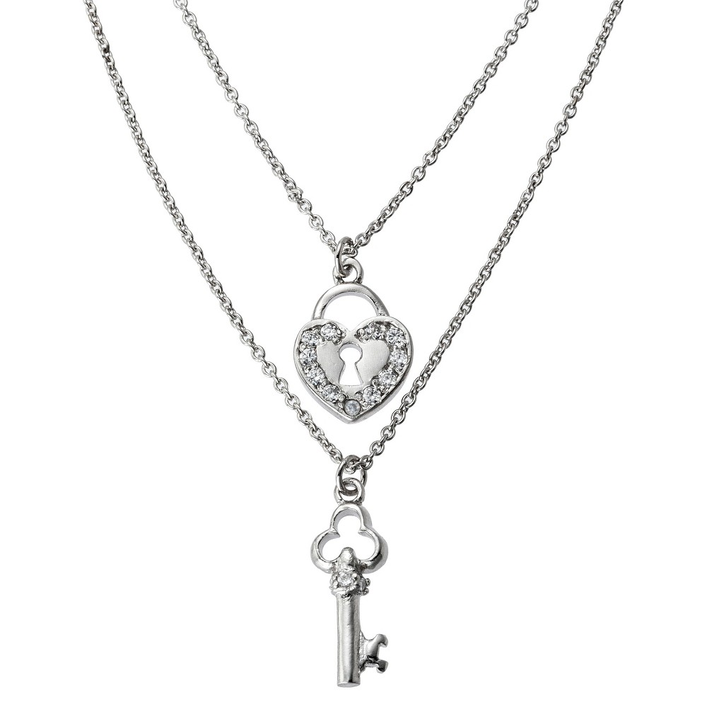 Silver Plated Double Necklace Key and Heart Pendant