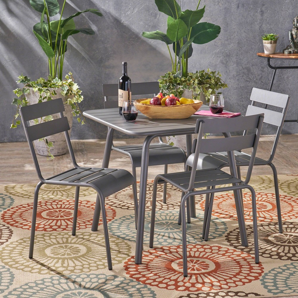 Lacina 5pc Iron Outdoor Patio Dining Set - Gray - Christopher Knight Home