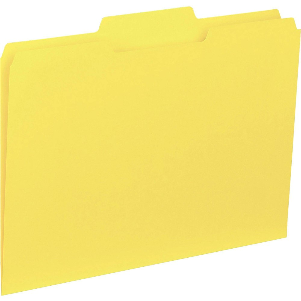 Image of Business Source 100ct 1/3-Cut Colored Interior File Folders - Yellow