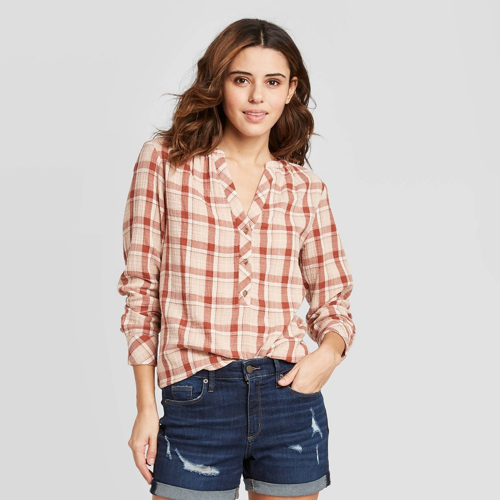 Women's Plaid Flutter Long Sleeve Round Neck Button-Front Tunic Blouse - Universal Thread Brown XXL, Women's was $22.99 now $16.09 (30.0% off)