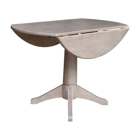 Alexandra Round Dual Drop Leaf Pedestal Table Washed Gray Taupe