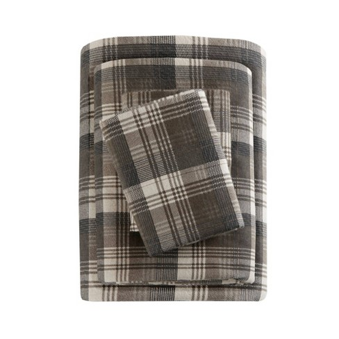 California King Patterned Flannel Sheet Set Brown Plaid Target