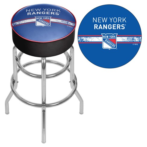 Admirable Nhl New York Rangers Chrome Bar Stool With Swivel Machost Co Dining Chair Design Ideas Machostcouk