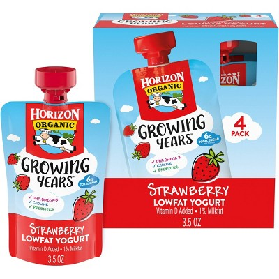 Horizon Organic Growing Years Strawberry Kids' Yogurt Pouch - 4ct/3.5oz Pouches