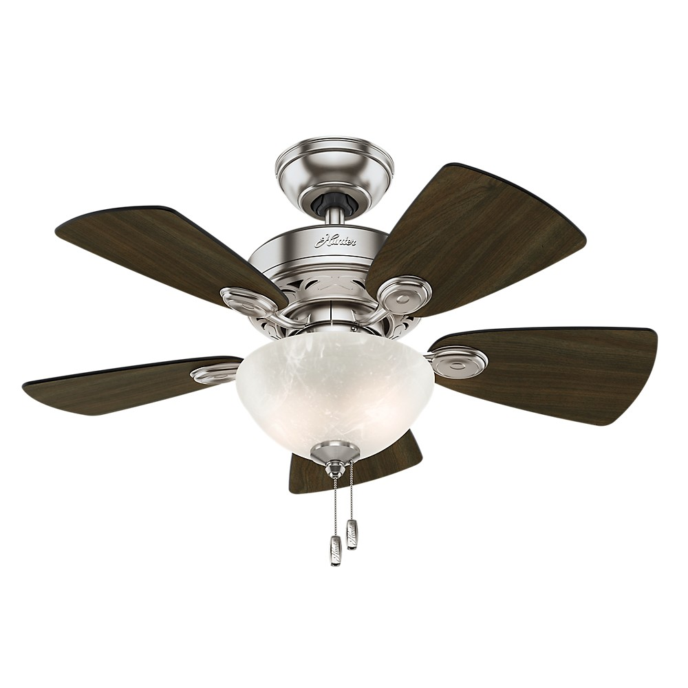 "Image of ""34"""" Watson Brushed Nickel Ceiling Fan with Light - Hunter Fan"""