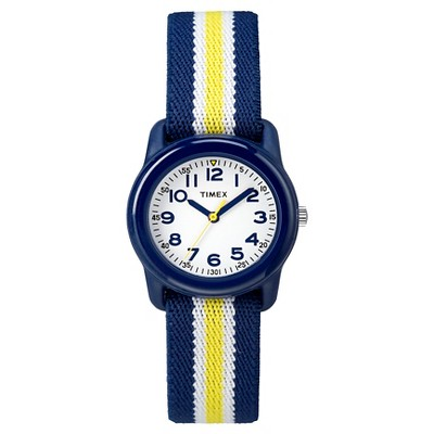 Kid's Timex Watch with Striped Strap - Blue/Yellow TW7C058009J