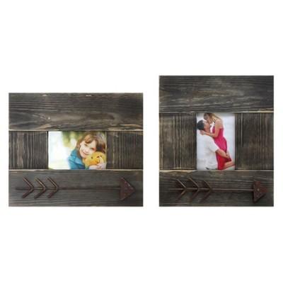 Photo Frame w/Metal Arrow Brown 4 x6  2pk - 3R Studios