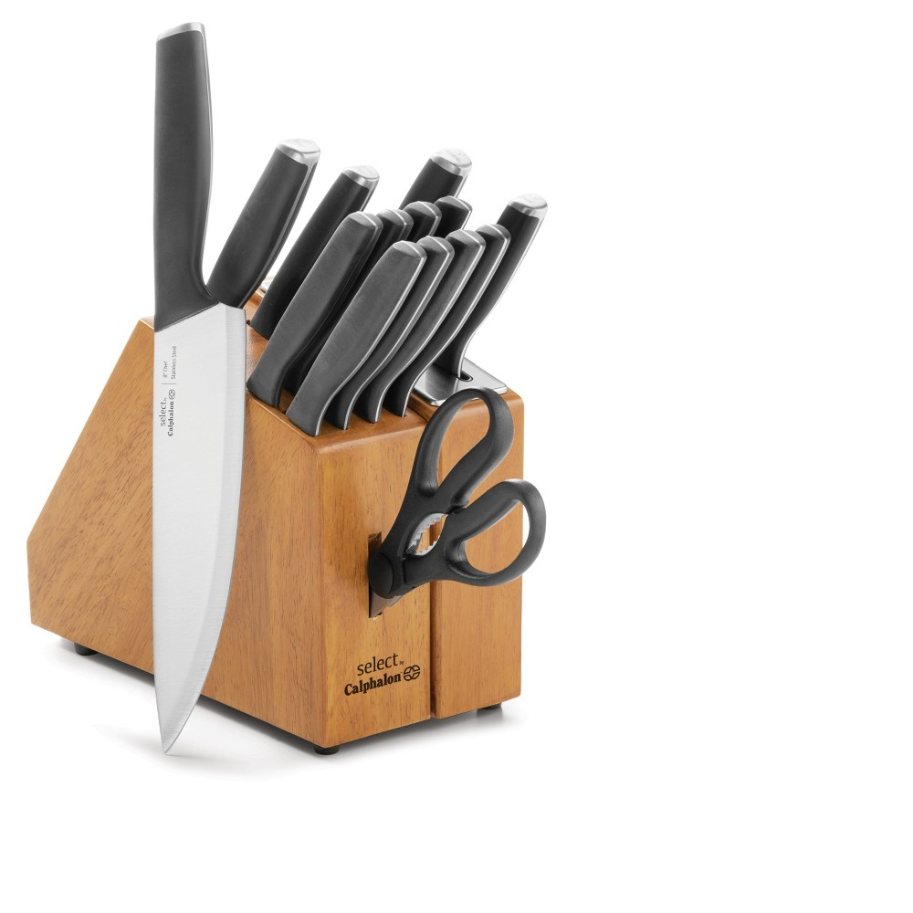 Select by Calphalon Self-Sharpening 15pc Cutlery Set With Sharp In Technology, Black