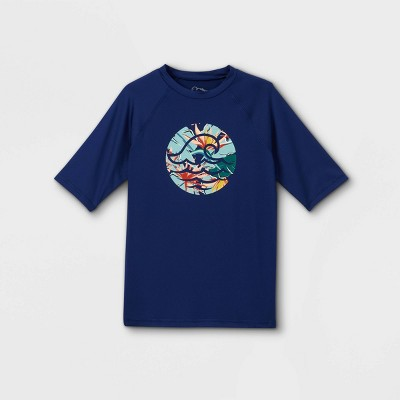 Boys' Floral Wave Rash Guard Swim Shirt - art class™ Navy