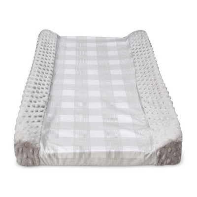 Wipeable Changing Pad Cover with Plush Sides Checkered - Cloud Island™ Gray