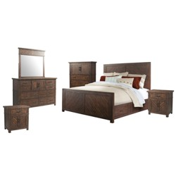 Dex King Platform Storage 6pc Bedroom Set Walnut Brown - Picket House Furnishings