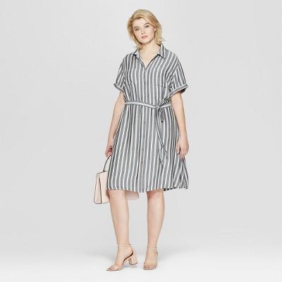 444ca2bf5a603 Women s Plus Size Striped Short Sleeve Shirtdress - Ava   Viv™ Gray