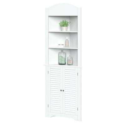 Corner Linen Cabinet with Shutter Doors White - River Ridge