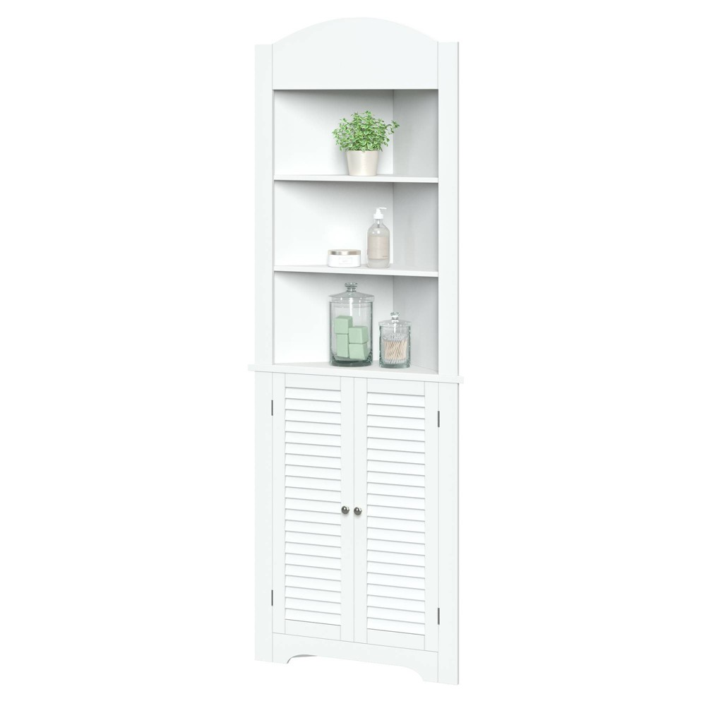 Image of Corner Linen Cabinet with Shutter Doors White