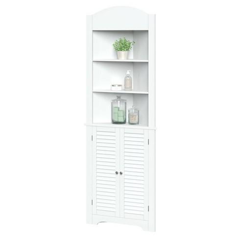 Corner Linen Cabinet With Shutter Doors White Target