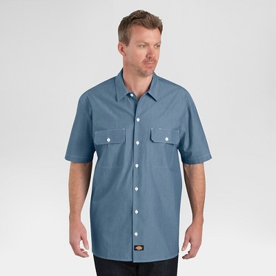 Dickies Men's Relaxed Fit Short Sleeve Chambray Shirt