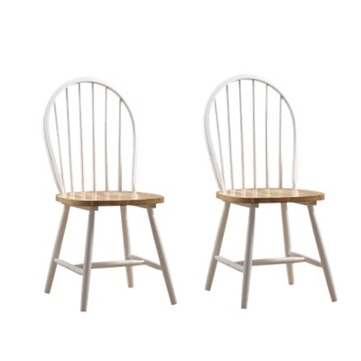 Set of 2 Windsor Dining Chair Wood/White/Natural - Boraam