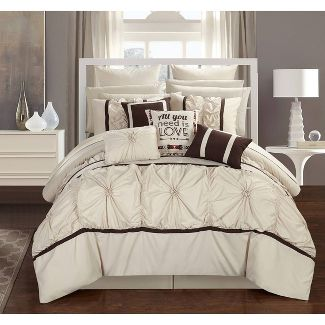 Queen 16pc Legaspi Bed In A Bag Comforter Set Beige - Chic Home Design