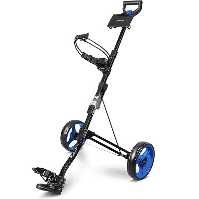 SereneLife SLGZX3 Heavy Duty Aluminum 2 Wheel Lightweight Collapsible Foldable Walking Golf Bag Push Cart Trolley with Quick Braking System