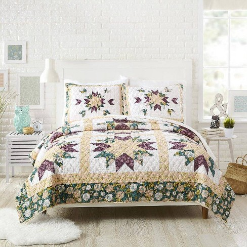 Bonnie Christine for Makers Collective 3pc Foraged Flora Quilt & Sham Set Green - image 1 of 4