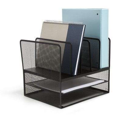 MyOfficeInnovations 7 Compartment Wire Mesh File Organizer, Matte Bk 24402501