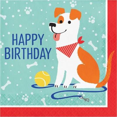 48ct Dog Print Birthday Party Napkins