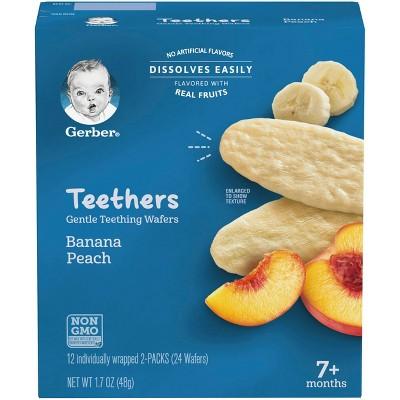 Gerber Teethers Banana Peach Baby Snacks - 12ct/1.7oz Total