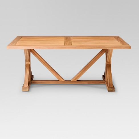 Morie Farmhouse Wood Outdoor Dining Table Threshold