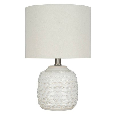 """15.25"""" Textured Ceramic Accent Table Lamp with Linen Shade (Includes LED Light Bulb) White - Cresswell Lighting"""