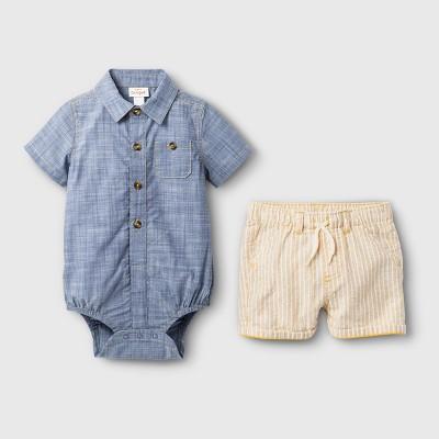 Baby Boys' Chambray Bodysuit and Shorts Set - Cat & Jack™ Blue/Yellow 0-3M
