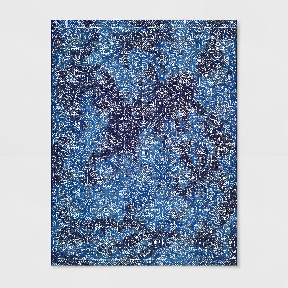 9' x 12' Medallion Outdoor Rug Indigo - Threshold, Blue