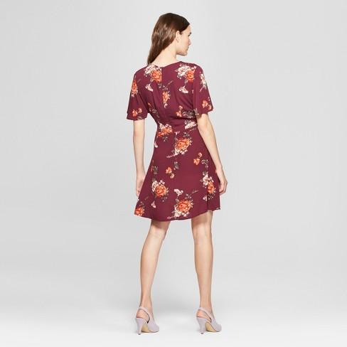 00f177f3b452d Women s Floral Print Short Sleeve Wrap Dress - Xhilaration™ Wine XXL    Target