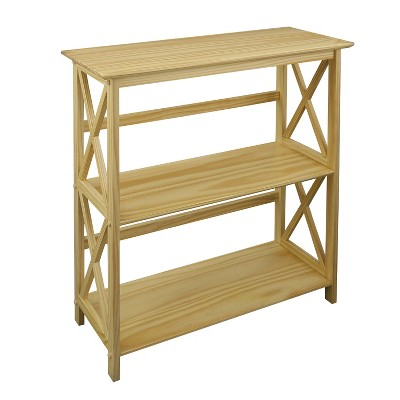 Casual Home 324-30 Soild Pine Wood Montego X Design Style Open Standing 3 Tier Shelf Bookcase Decorative Shelving Unit, Natural