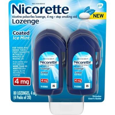 Nicorette 4mg Coated Nicotine Lozenge Stop Smoking Aid - Ice Mint
