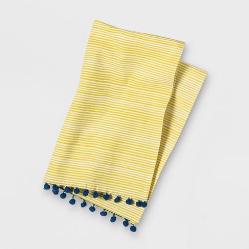 Stripe Pom Tassels Kitchen Towel Yellow - Opalhouse™