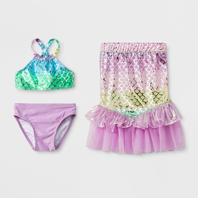 Baby Girls' 3pc Mermaid Skirt Bikini Set - Cat & Jack™ Purple 12M