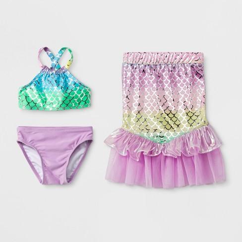 5568f658b5 Baby Girls' 3pc Mermaid Skirt Bikini Set - Cat & Jack™ Purple : Target