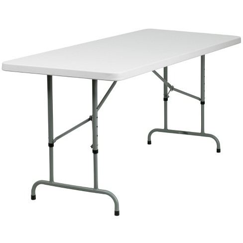Flash Furniture 6-Foot Height Adjustable Granite White Plastic Folding Table - image 1 of 4