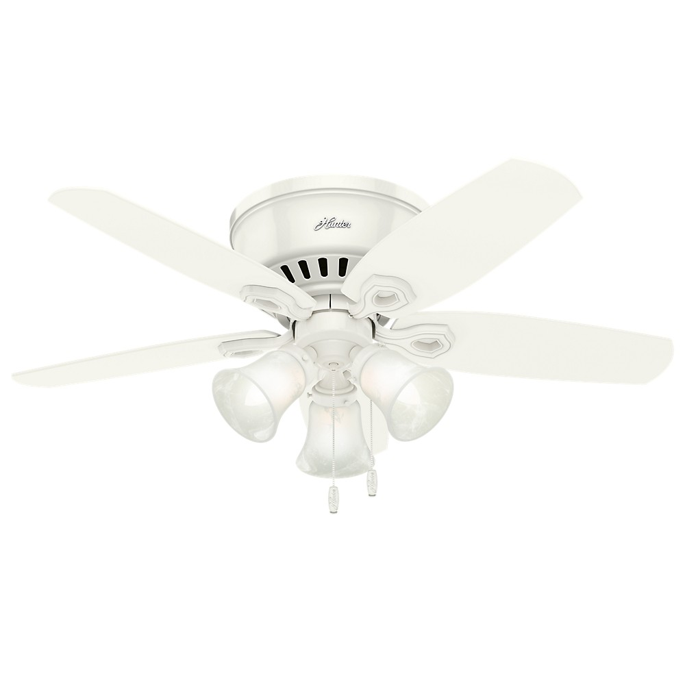 "Image of ""42"""" Builder Low Profile Snow LED Lighted Ceiling Fan White - Hunter Fan"""