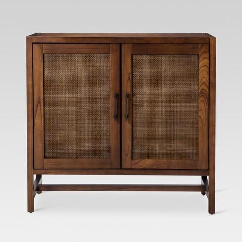 Warwick 2 Door Wood Rattan Accent Cabinet Threshold