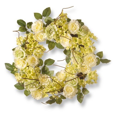 "Artificial Rose Wreath Cream 24"" - National Tree Company"