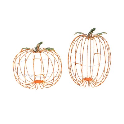 Gerson International Set of 2 Assorted Electric Metal Harvest Pumpkins with Warm White Lights
