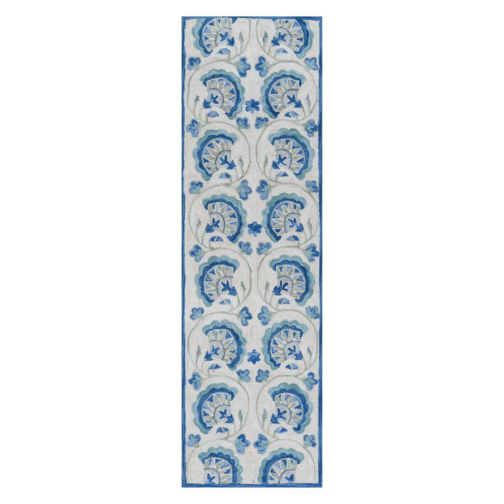 "Image of ""2'3""""X7'6"""" Floral Hooked Runner Blue - Momeni"""