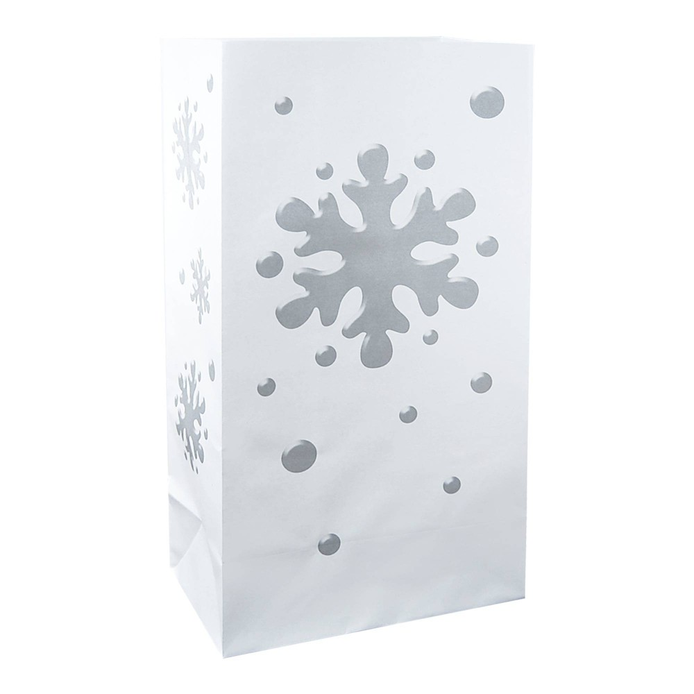 "Image of ""24ct Paper Luminaria Bags """"Snowflake"""" Silver - LumaBase"""