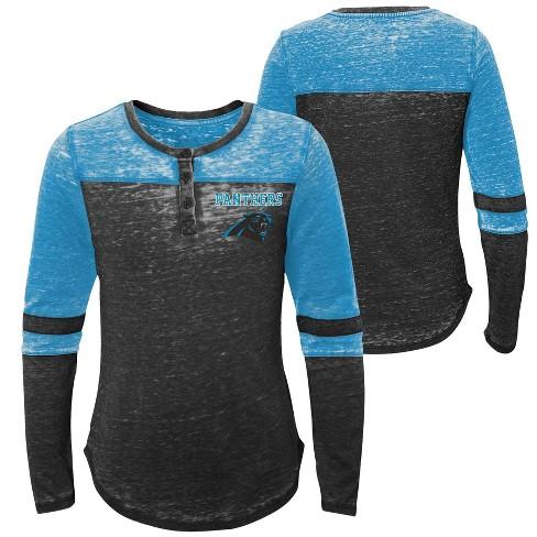 huge selection of 56f10 7b4df NFL Carolina Panthers Girls' Reverse Pass Burnout Long Sleeve Henley  T-Shirt - XL